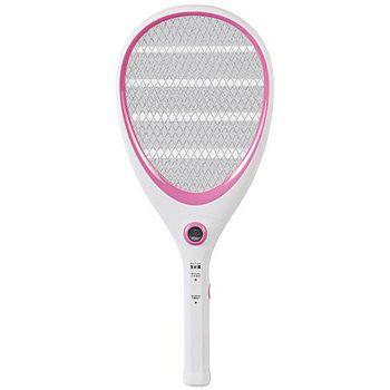大家源 三層充電式電蚊拍-網球拍造型款。可愛粉 /TCY-6143