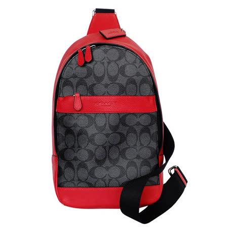 COACH 灰底黑C Logo拼接紅邊真皮斜背/單肩後背包