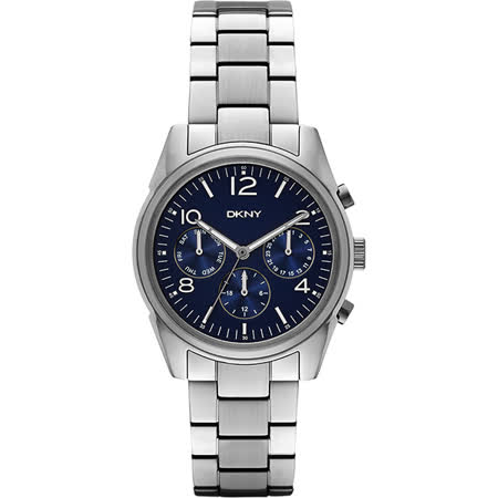 DKNY Rockaway 都會時尚日曆腕錶-藍x銀/36mm NY2470