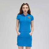 TOP GIRL 清新學院風POLO杉棉洋裝-藍