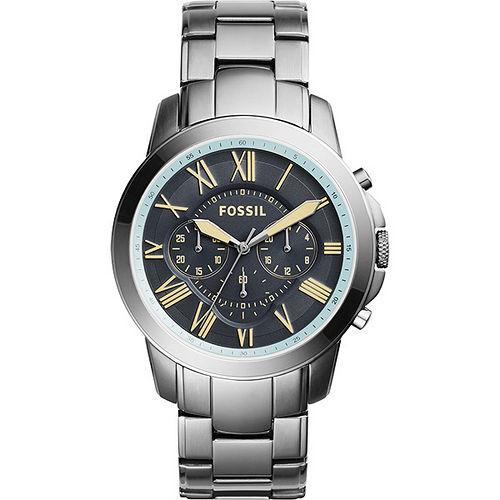 FOSSIL 都會雅爵三眼計時腕錶~灰藍x鐵灰46mm FS5185