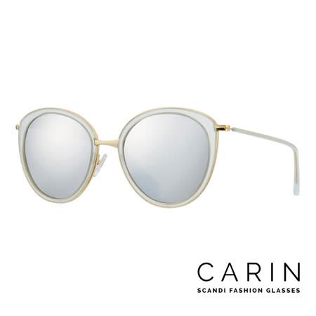 CARIN 韓國名星愛用經典款太陽眼鏡 Olvia-C3-Silver mirror(白)