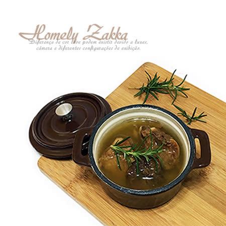 【Homely Zakka】迷你10cm小圓烤盅琺瑯鑄鐵鍋(大地咖)