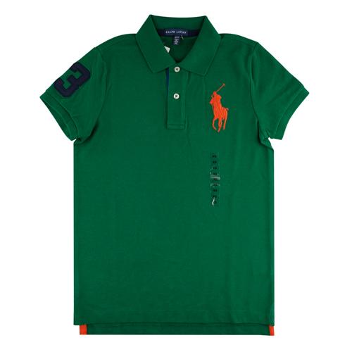 Ralph Lauren 經典戰馬短袖POLO衫(女/綠底橘大馬深藍數字)