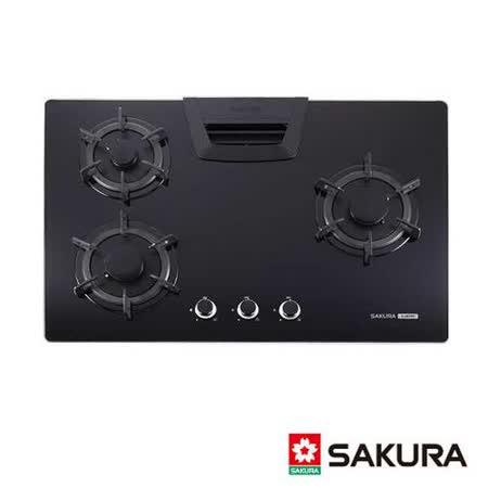 【櫻花】G-2835G 三口節能玻璃檯面爐(天然瓦斯)