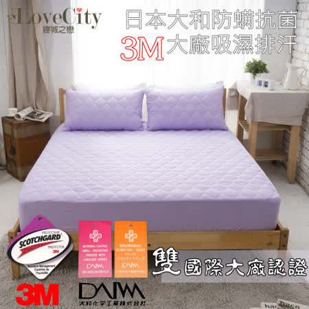 『Love City 寢城之戀』3M吸濕排汗/日本大和防蹣抗菌炫彩床包式保潔枕套-2入 (紫羅蘭)