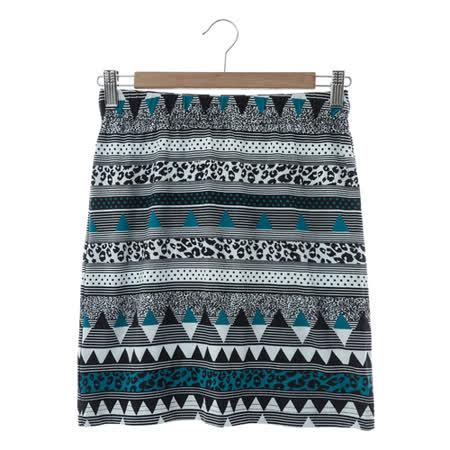 beartwo 幾何圖案合身彈性窄裙-中藍