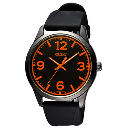ORIENT 東方錶 SPORTS系列運動時尚石英錶-黑x橘時標/43mm/FQC0U007B