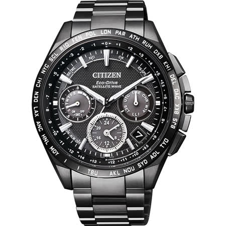 CITIZEN GPS 光動能衛星對時限量計時鈦金屬腕錶-黑/43mm CC9017-59E