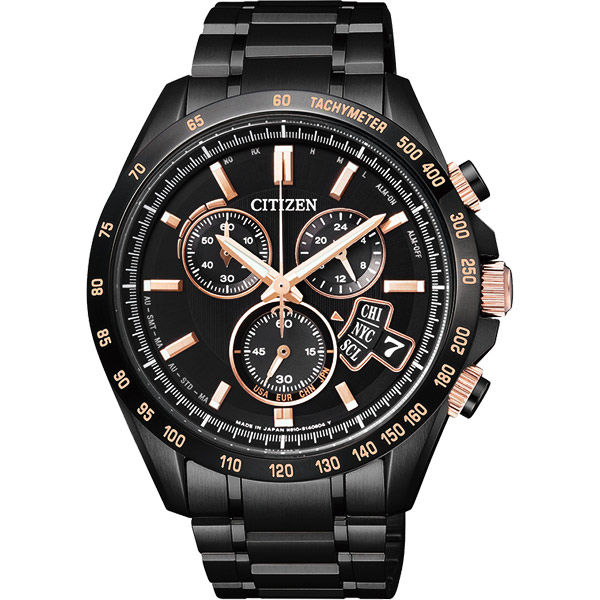 CITIZEN 世界時間萬年曆防磁電波計時錶~黑42mm BY0135~57E