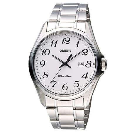 ORIENT 東方錶 都會簡約風時尚男用石英腕錶-白x銀/41mm/FUNF2007W