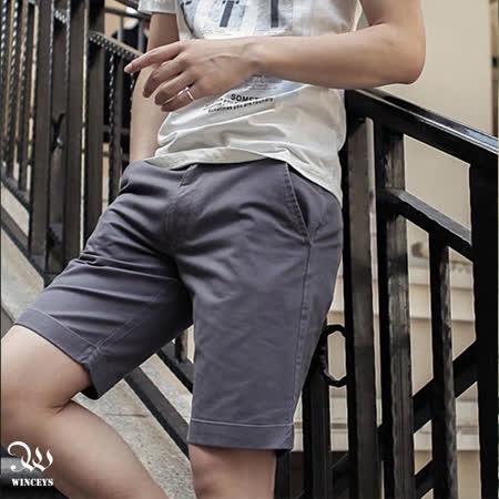 WINCEYS 男士英倫風純棉五分褲-灰