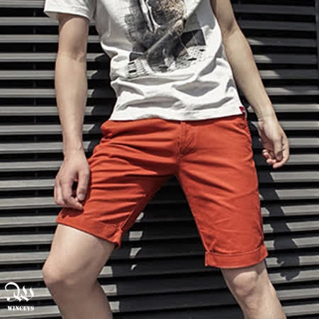 WINCEYS 男士英倫風純棉五分褲-桔紅