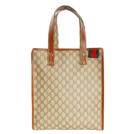 GUCCI 復古紅綠紅織帶PVC購物手提包(中/咖啡色)