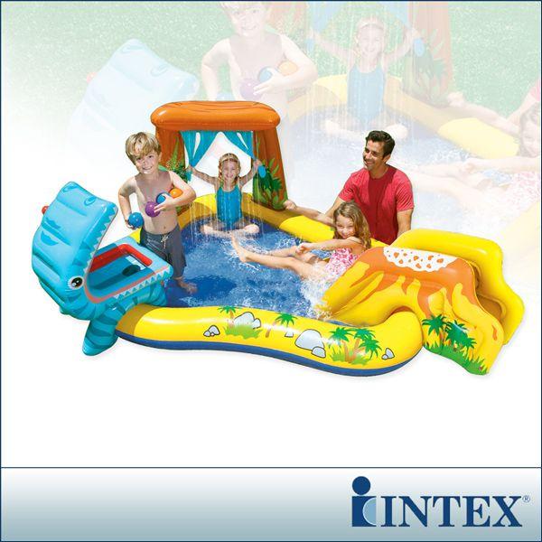 【INTEX】恐龍噴水戲水游泳池/小滑水道 249x天母 太平洋 sogo191cm (216L)