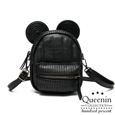DF Queenin日韓 - 米奇造型小巧款仿皮2way後背包-黑色