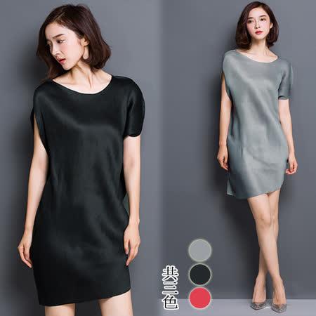 【韓國K.W.】(在台現貨)歐美時尚皺褶圓領無袖連身裙