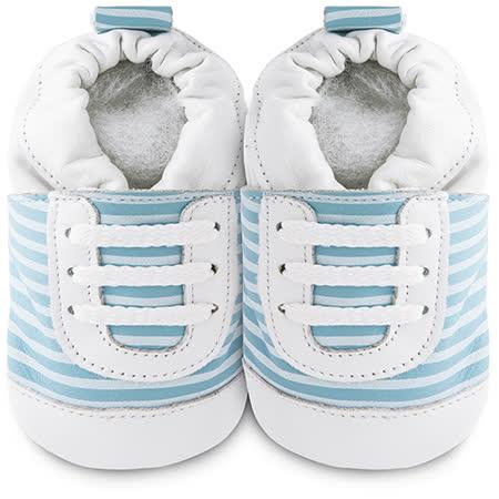 英國 shooshoos 安全無毒真皮手工鞋/學步鞋/嬰兒鞋_藍白斑馬紋運動型_101068 (公司貨)