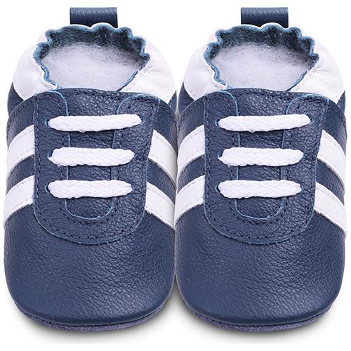 英國 shooshoos 安全無毒真皮 鞋學步鞋嬰兒鞋_海軍藍白鞋帶 型_101070 ^