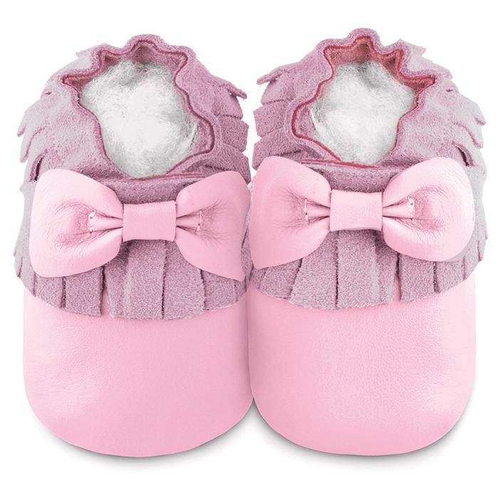 英國 shooshoos 安全無毒真皮 鞋學步鞋嬰兒鞋_淡粉蝴蝶流蘇_102229 ^(