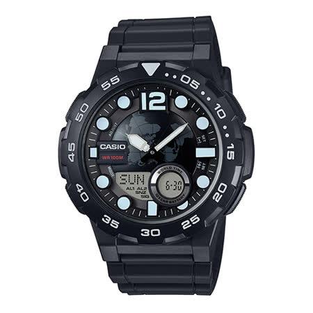 CASIO 卡西歐 世界地圖十年電力雙顯橡膠腕錶-黑/46mm/ AEQ-100W-1A