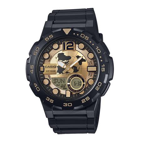 CASIO 卡西歐 世界地圖十年電力雙顯橡膠腕錶 金x黑 46mm/ AEQ-100BW-9A