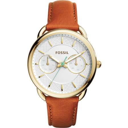 FOSSIL Tailor 優雅時代日曆女錶-金框x棕/35mm ES4006