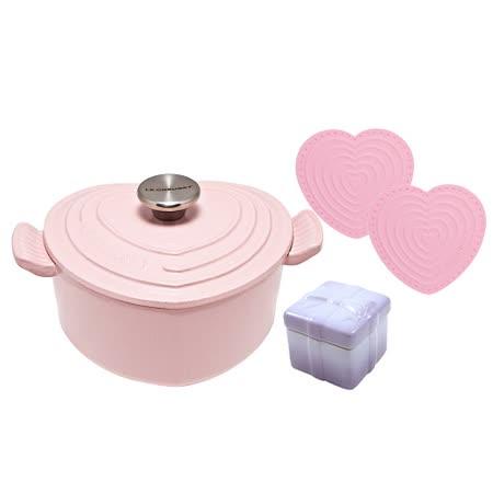 LE CREUSET 鑄鐵琺瑯愛心鍋(甜心粉) 鋼頭+ 瓷器禮物烤盅 (粉彩紫) + 迷你愛心隔熱墊 2入(粉紅)