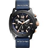 FOSSIL Modern Machine 重裝計時腕錶-黑x藍/45mm FS5066