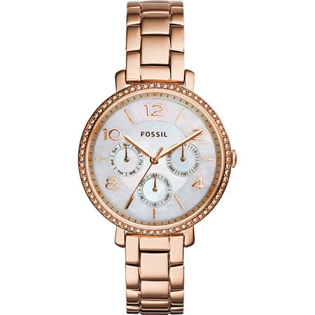 FOSSIL Jacqueline 都會名媛時尚晶鑽日曆腕錶-珍珠貝x玫瑰金/36mm ES3757