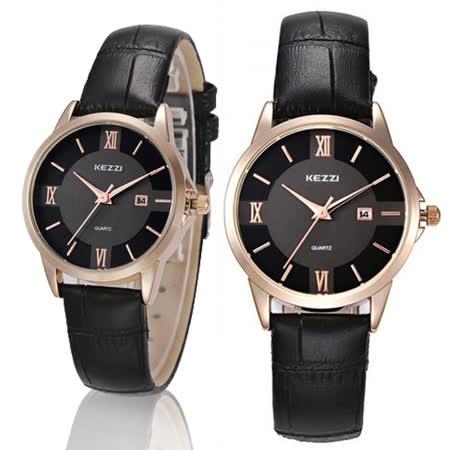 【KEZZI】大盤面羅馬數字鱷魚皮錶帶女錶-黑 FFQ-788