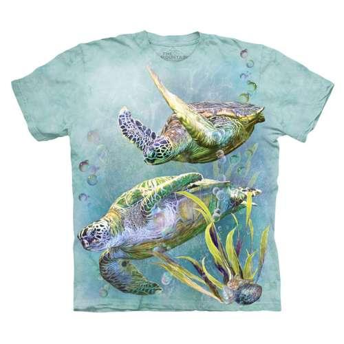 ~摩達客~^( ^) 美國 The Mountain 海龜游泳 純棉環保短袖T恤