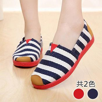 ALicE (預購)Y1194春意盎然條紋好穿休閒鞋 (藍/紅)