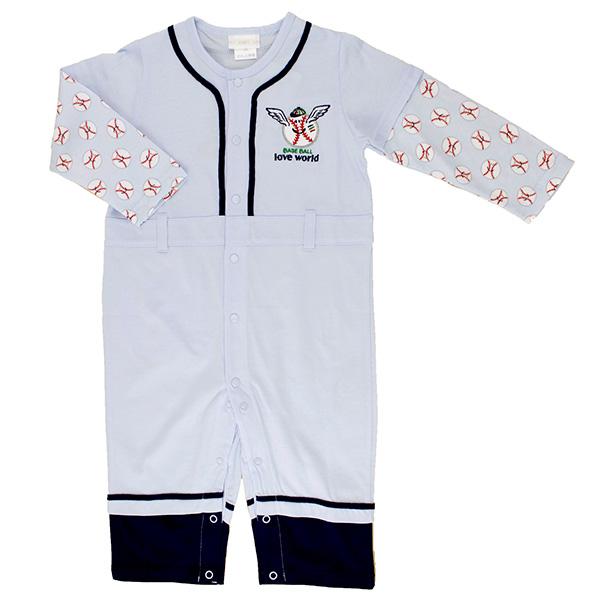 ~愛的世界~LOVEWORLD 棒球系列純棉釘釦長袖衣連褲衣連褲2歲 ~ 製~
