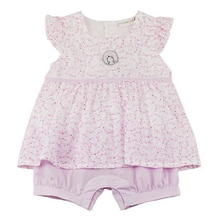 【愛的世界】LOVEWORLD 小花兔系列粉色假兩件衣連褲/6個月~2歲-台灣製-