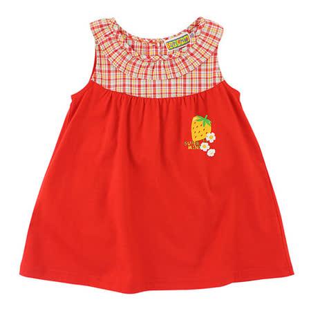 【愛的世界】SUPERMINI 草莓園系列 紅色無袖洋裝/4歲-台灣製-
