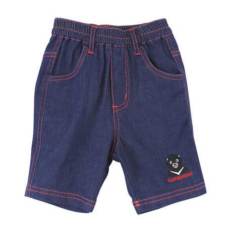 【愛的世界】SUPERMINI 黑熊與車系列黑熊牛仔短褲/2~4歲-台灣製-