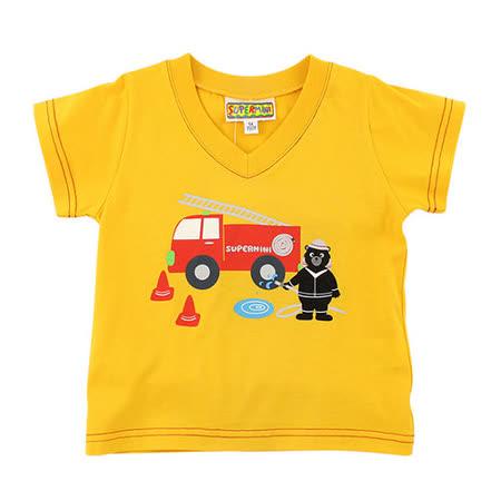 【愛的世界】SUPERMINI 黑熊與車系列純棉V領印圖T恤/4~10歲-台灣製-