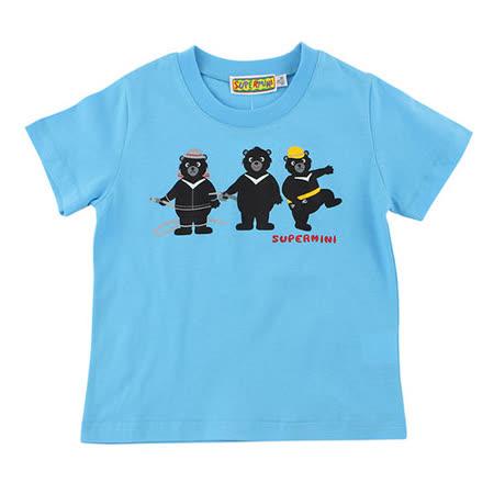 【愛的世界】SUPERMINI 黑熊與車系列純棉印圖T恤/6~10歲-台灣製-