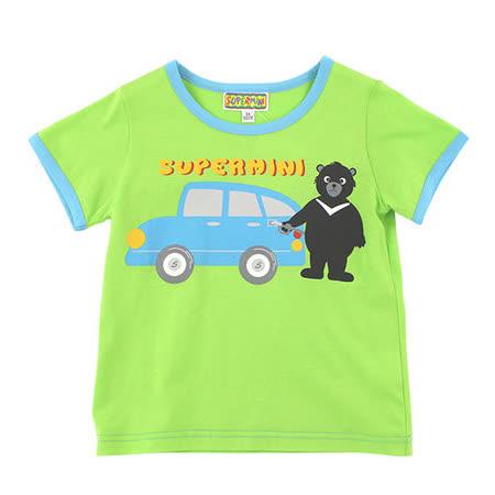 【愛的世界】SUPERMINI 黑熊與車系列純棉圓領印圖T恤/3~4歲-台灣製-