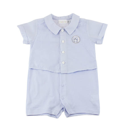 【愛的世界】LOVEWORLD 蜻蜓系列假兩件襯衫式衣連褲/6個月~2歲-台灣製-