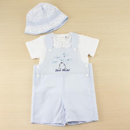 【愛的世界】LOVEWORLD 蜻蜓系列格紋吊帶褲禮盒/6個月~1歲-台灣製-