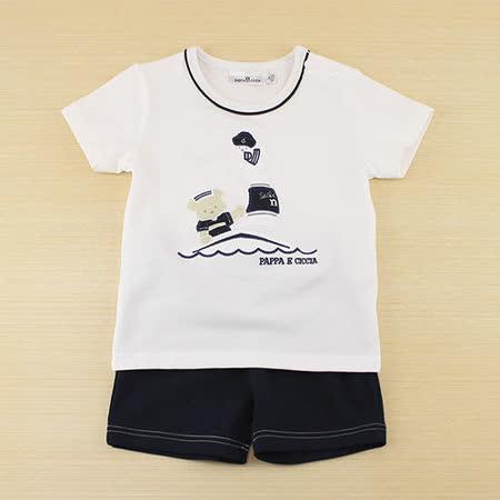 【愛的世界】pappa&ciccia 海軍熊熊系列小熊圖案休閒套裝/6~8歲-台灣製-