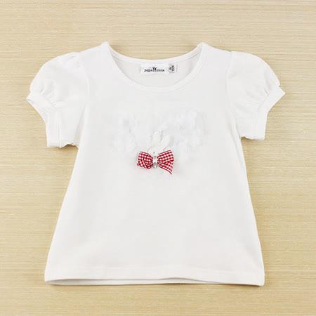【愛的世界】pappa&ciccia 小兔公主系列素色紡紗花卉上衣/1~3歲-台灣製-
