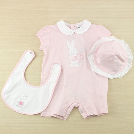 【愛的世界】pappa&ciccia 粉紅兔兔系列娃娃領衣連褲禮盒/6個月~2歲-台灣製-
