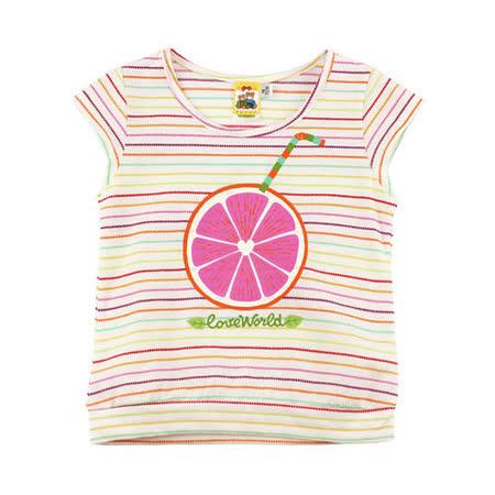 【愛的世界】MYBABY 水果百匯系列半袖橫紋柳橙T恤/6~10歲-台灣製-