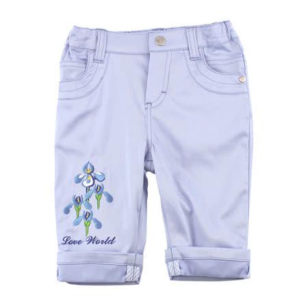 【愛的世界】LOVEWORLD 鳶尾花系列繡花反摺七分褲-水藍/2~4歲-台灣製-