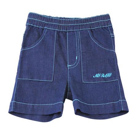 【愛的世界】MYBABY 快樂的朋友系列深色牛仔短褲/1~4歲