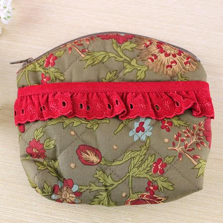 【愛的世界】古典花卉零錢包(小)-橄欖綠印花