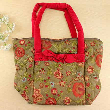 【愛的世界】古典花卉手提袋(中)-橄欖綠印花